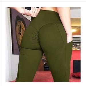 Olive colored butt lifting leggings